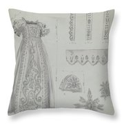 Embroidered Christening Robe & Mull Cap Throw Pillow