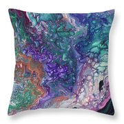 Emerald And Amethyst. Abstract Fluid Acrylic Painting Throw Pillow