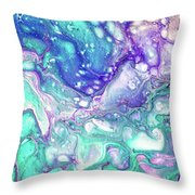 Emerald And Amethyst  Fragment 9.  Abstract Fluid Acrylic Painting Throw Pillow