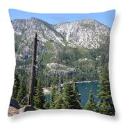 Emerald Bay With Mountain Throw Pillow