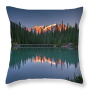 Emerald Lake At Sunrise Hour Throw Pillow