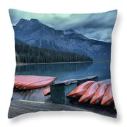 Emerald Lake Canoes Throw Pillow