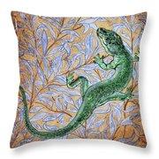 Emerald Lizard Throw Pillow