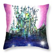 Emerald Palace Of Ancient Queen Of Space Aliens Throw Pillow