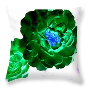 Emerald Rose Throw Pillow