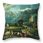 Emigrants Crossing The Plains Throw Pillow