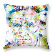 Emil Cioran - Watercolor Portrait Throw Pillow