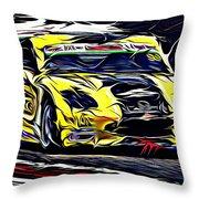 Emily Linscott On The Racetrack - Ginetta Junior Championship Throw Pillow