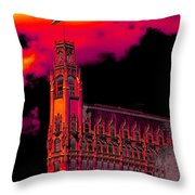 Emily Morgan Hotel With Fiery Sky Throw Pillow