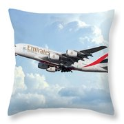 Emirates A380-800 A6-eer Throw Pillow