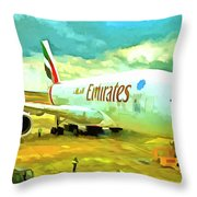 Emirates A380 Airbus Pop Art Throw Pillow