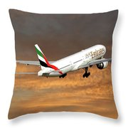 Emirates Boeing 777-36n 3 Throw Pillow