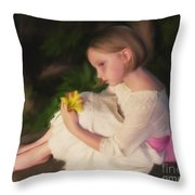 Emma Oil - Pink Bow Throw Pillow