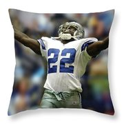 Emmitt Smith, Number 22, Running Back, Dallas Cowboys Throw Pillow