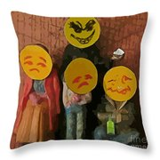 Emoji Family Victims Of Substance Abuse Throw Pillow