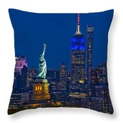 Empire State And Statue Of Liberty II Throw Pillow