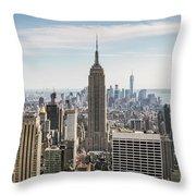 Empire State Building And Manhattan Skyline, New York City, Usa Throw Pillow