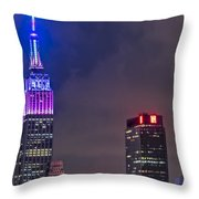 Empire State Building Esb At Night Throw Pillow