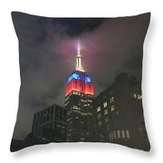 Empire State Building In The Fog Throw Pillow