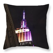 Empire State Building With A Light In A Window Throw Pillow