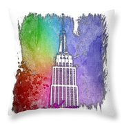 Empire State Of Mind Cool Rainbow 3 Dimensional Throw Pillow