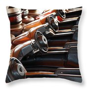Empty Aligned Bumper Cars Throw Pillow