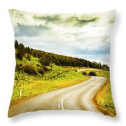 Empty Asphalt Road In Countryside Throw Pillow