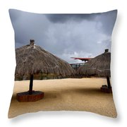 Empty Beach Due To Incoming Storm  Throw Pillow