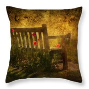 Empty Bench And Poppies Throw Pillow