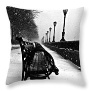 Empty Benches In The Snow Throw Pillow