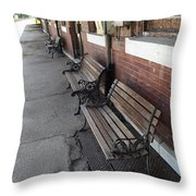 Empty Benches Throw Pillow