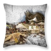 Empty Bottles And Discarded Pants Throw Pillow
