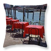 Empty Canal Side Tables Awaiting Hungry Customers In Venice, Italy  Throw Pillow