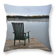Empty Chair On Autumn Morning Throw Pillow