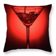 Empty Cocktail Glass On Red Background Throw Pillow
