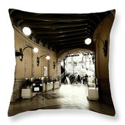 Empty Market Tunnel Throw Pillow