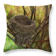 Empty Nest In Autumn Throw Pillow
