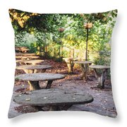 Empty Picnic Tables In The Early Fall With Fallen Leaves Throw Pillow