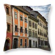 Empty Street In Slovenia Throw Pillow