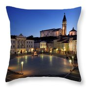 Empty Tartini Square In Piran Slovenia With Courthouse, City Hal Throw Pillow