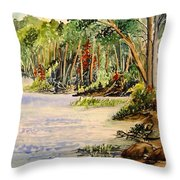 En Plein Air At Otter Falls Boat Launch Throw Pillow