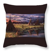 Encampment At Dusk Throw Pillow