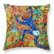 Encaustic  Man  Jumping Throw Pillow