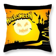 Enchanted Castle Over The Zombies Cemetery In Halloween Night Throw Pillow