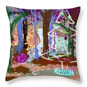 Enchanted Christmas Forest Throw Pillow