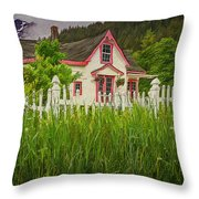 Enchanted Cottage With Picket Fence Throw Pillow