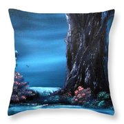 Enchanted Oak By Moonlight Throw Pillow by Cynthia Adams