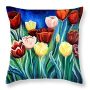 Enchanted Tulips Throw Pillow