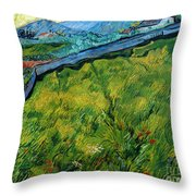 Enclosed Wheat Field With Rising Sun, By Vincent Van Gogh, 1889, Throw Pillow