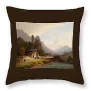 Encounter In A Mountain Valley Throw Pillow